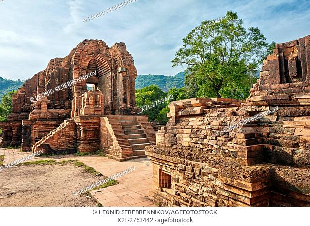 Ancient temple ruins of Group G. My Son Sanctuary, Quang Nam Province, Vietnam