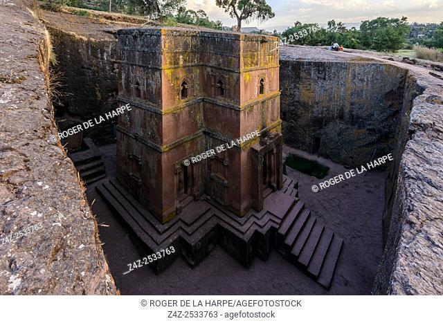 Church of St. George (Amharic: Bete Giyorgis or Biet Giyorgis). It is among the best known and last built of the eleven Rock-Hewn Churches in the Lalibela area