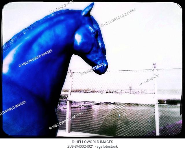 Full-size plastic horse, A'Dam Lookout, A'dam Toren, Overhoeks, Amsterdam-Noord, Amsterdam, Netherlands. Located on the 20th floor observation deck