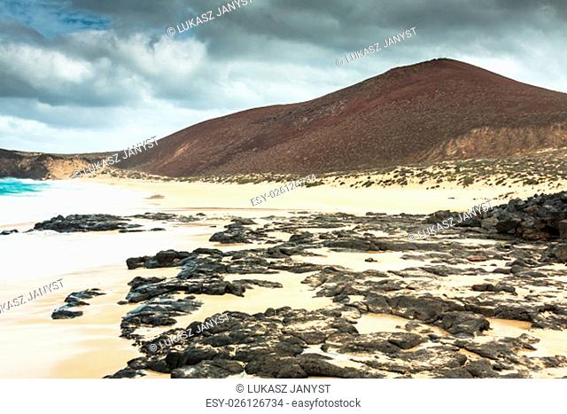 a view of playa de las conchas,a beautiful beach on la graciosa,a small island near lanzarote,canary islands,in the middle of the atlantic ocean
