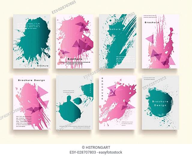 creative brochure template design with ink brush elements