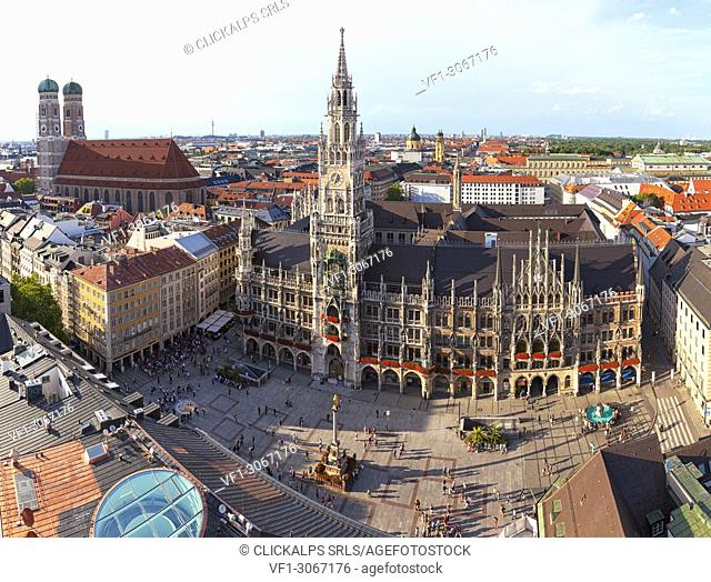 Overview of Town Hall (Rathaus) and Frauenkirche from St. Peter bell tower, Marienplatz, Munich, Bavaria, Germany