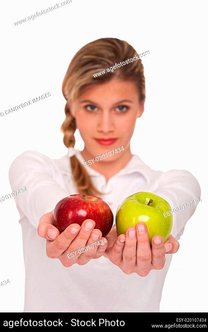 Healthy lifestyle series - Woman holding two apples