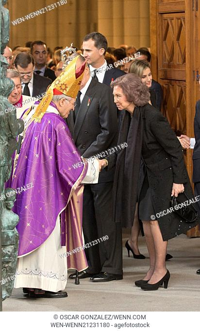 State funeral for former Spanish president Adolfo Suarez held at Almudena Cathedral. Suarez died March 23, aged 81. Featuring: Queen Sofia of Spain Where:...