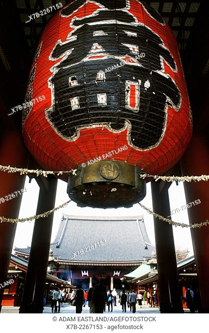 Tokyo. Japan. The ten foot high red paper lantern hangs from Thunder Gate at the entrance to the Senso ji Buddhist temple complex in Asakusa