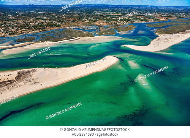 Barra da Fuzeta. Between Tavira and Fuzeta island. Ria Formosa, natural park. Faro district. Algarve. Portugal