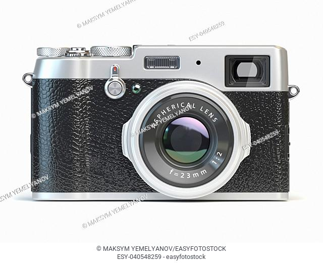 Vintage photo camera isolated on white. 3d illustration
