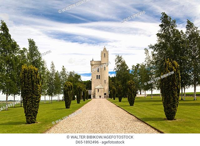 France, Picardy Region, Somme Department, Somme Battlefields, Thiepval, Tour de Ulster, replica of a tower near Belfast Northern Ireland
