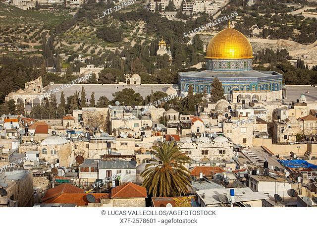 Aerial view of old City, is possible to see The Dome of the Rock and Temple Mount, Jerusalem, Israel