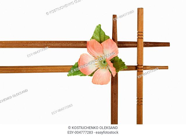Decorative wooden frame with flowers, isolated on white backgrou