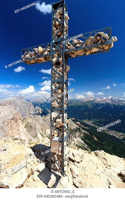 cross on Roda di Vael mount, Trentino, Italy
