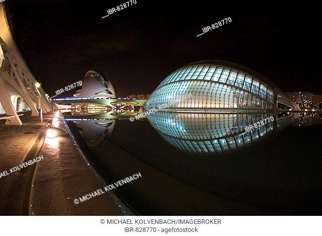 El Palau de les Arts Reina Sofía, Queen Sofia Palace of the Arts left, and L'Hemisferic Imax cinema, Valencia, Spain, Europe