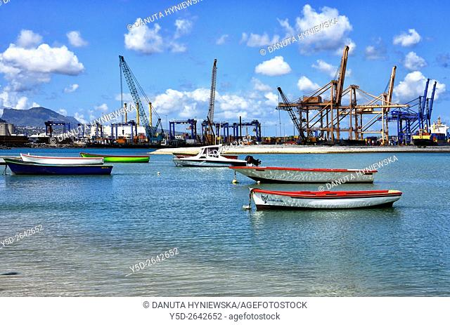 Africa, Mauritius, Port Louis Harbor, container terminal seen from Tombeau Bay