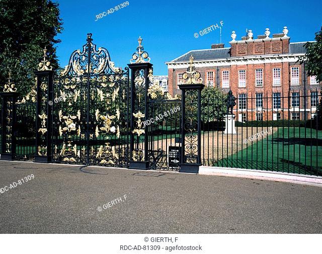 Kensington Palace with entrance gate London England