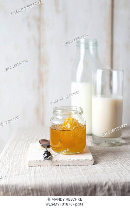 Honey jar with honeycomb and milk