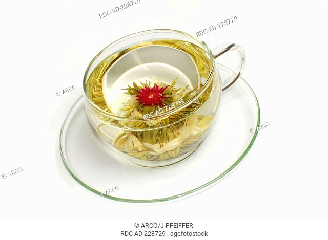 Cup of flower tea, tea blossom 'Petite Princesse', White Tea with Jasmine and Amaranth blossoms
