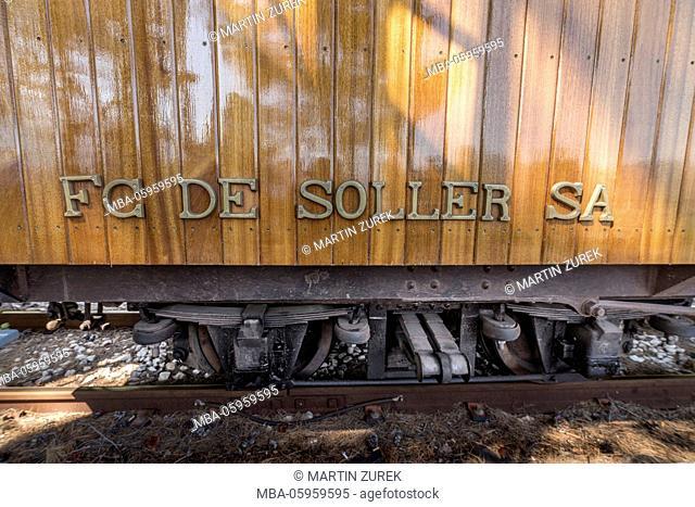 Spain, the Balearic Islands, Island of Mallorca, Tren de Sóller, locomotive, detail, stroke