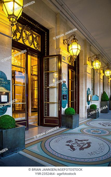 Evening at the entry to Hotel Le Meurice near Musee du Louvre, Paris, France