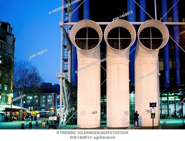 Center Pompidou, Beaubourg, Museum Contemporary Art Museum, night, France, Paris