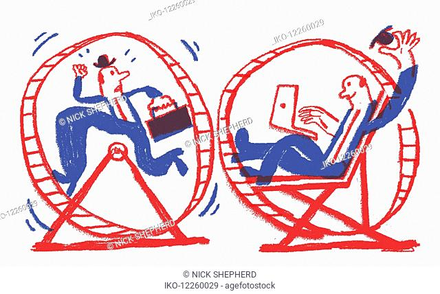 Contrast between stressed businessman running in exercise wheel and happy relaxed man using laptop computer