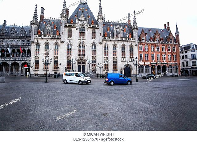 The old town city centre and market square; Bruges, Belgium