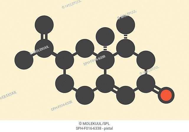 Nootkatone natural insect repellent molecule. Present in grapefruit. Stylized skeletal formula (chemical structure). Atoms are shown as color-coded circles:...