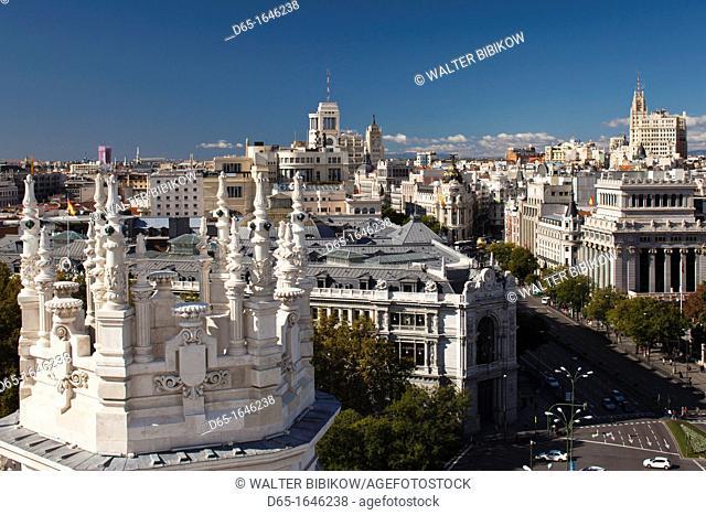 Spain, Madrid, Plaza de la Cibeles, Palacio de Communicaciones, once the world's biggest post office renovated into the El Centro exhibition space