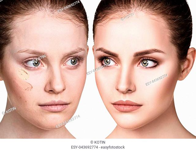 Young woman applying make-up foundation. Before and after make-up