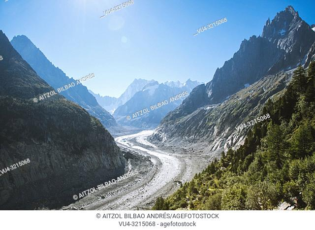 "The Mer de Glace (""Sea of Ice"") is a valley glacier located on the northern slopes of the Mont Blanc massif, in the French Alps. It is 7"