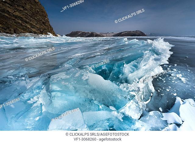 Frosen waves at lake Baikal, Irkutsk region, Siberia, Russia