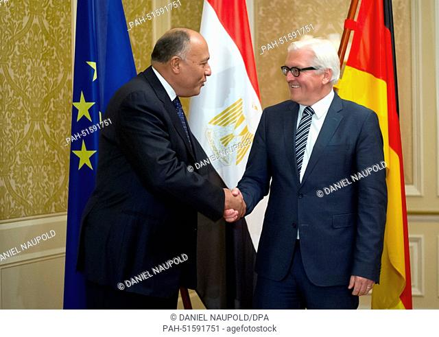 German Foreign Minister Frank Walter Steinmeier (SPD, R) shakes hands with Egyptian Foreign Minister Sameh Shoukry for bilateral talks in Berlin, Germany