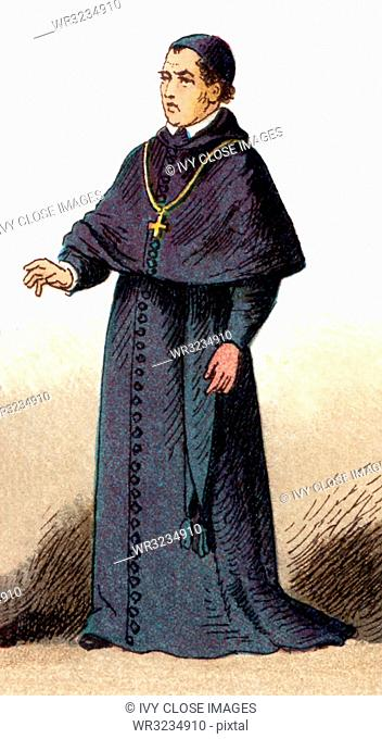 The illustration shown here depicts the ecclesiastical costume of a bishop in house costume. The illustration dates to 1882