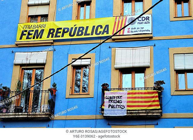 Banners for the independence of Catalonia and for catalan politics liberty