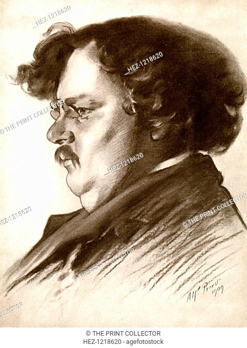 Gilbert Keith Chesterton, English writer, 1909, (1910). Portrait of GK Chesterton (1874-1936) from a supplement to The Bookman, 1910