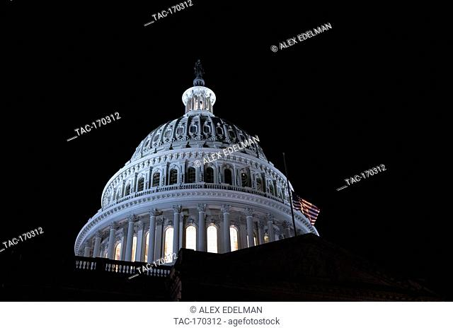 The United States Capitol Building is seen in Washington, DC on February 14, 2019. The United States Senate and House of Representatives passed legislation to...