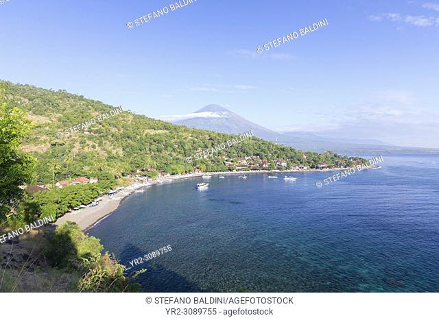 Amed beach with the Agung volcano in the background, Bali, Indonesia