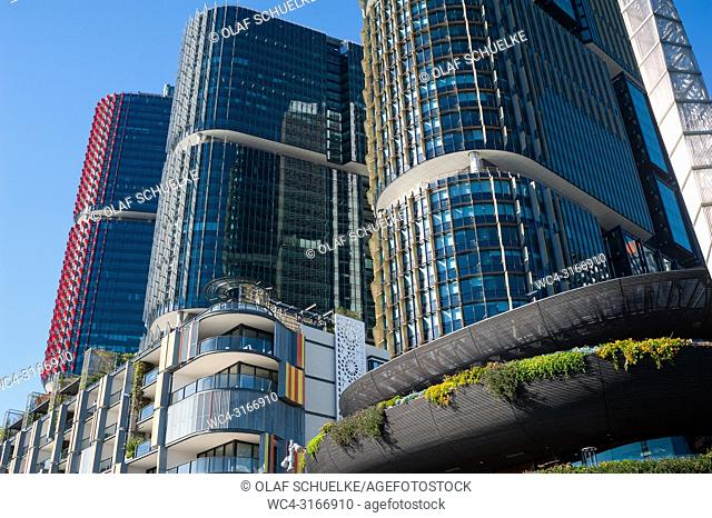 A view of modern residential buildings of the Alexander Residence, office towers and restaurants along the precinct on Wulugul Walk in Barangaroo South