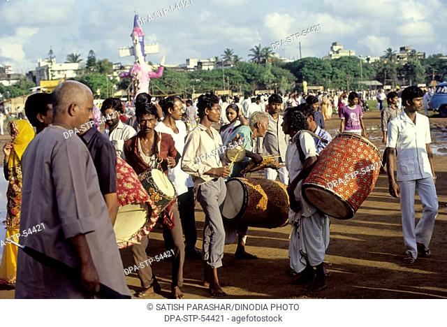 Musicians in durga procession at mumbai India