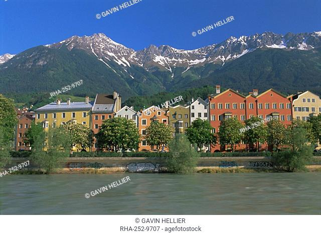 Buildings along the Inn River, Innsbruck, Tirol Tyrol, Austria, Europe
