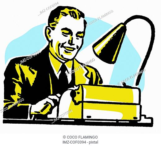 A graphic illustration of a business man working hard at a typewriter