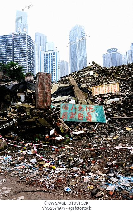 Chongqing, China - The view of the ruins of the famous old shanty town, Shibati, after demolition in the daytime