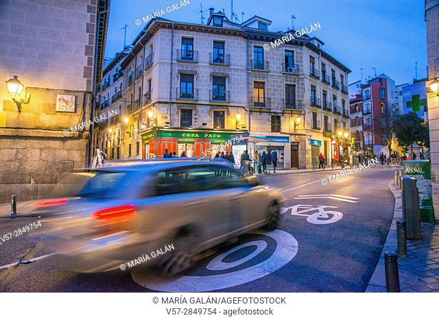 Segovia street, night view. Madrid, Spain
