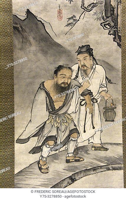 Zhongli Quan and Lu Dongbin, by Kojima Ryosen, ink and light color on paper,Muromachi period,16 th century,Tokyo National Museum,Tokyo,Honshu,Japan,Asia