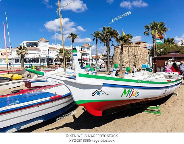 La Cala de Mijas, Costa del Sol, Malaga Province, Andalusia, southern Spain. A traditional fishing boat known as a jabega