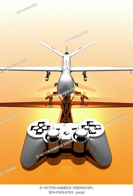 Artwork of a drone aircraft being controlled by a handheld device