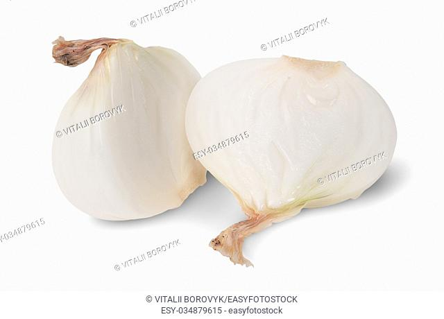 Two Halves Of Onion Isolated On White Backround