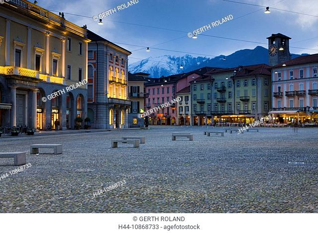 10868733, Locarno, Switzerland, canton, Ticino, town, city, houses, homes, lighting, illumination, dusk, twilight, place, space, Piazza Grande