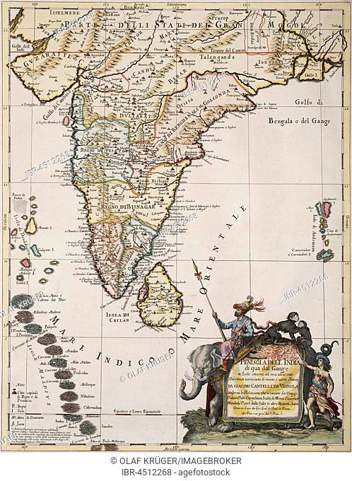 India, Ceylon and the Maldives, handcoloured copper engraving, historical map of Giacomo Cantelli da Vignola, published in Mercurio Geografico by Giovanni...