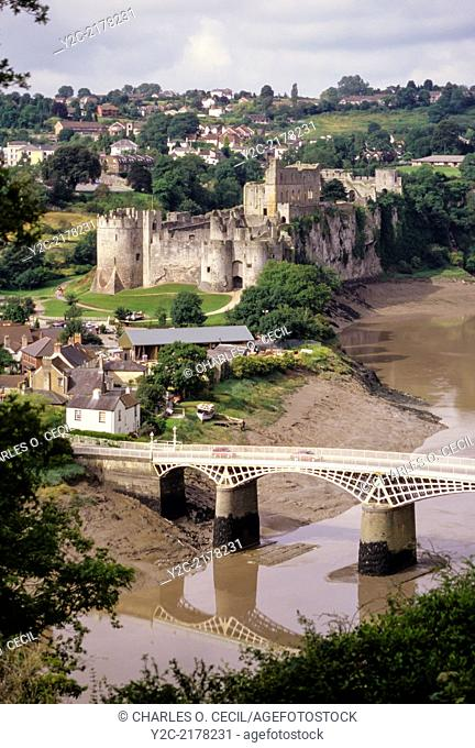 Wales, Chepstow. Chepstow Castle and the River Wy. Oldest Stone Castle in Britain. Begun 1067, mostly 13th century