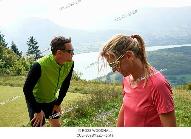 Joggers in Annecy, Rhone-Alpes, France